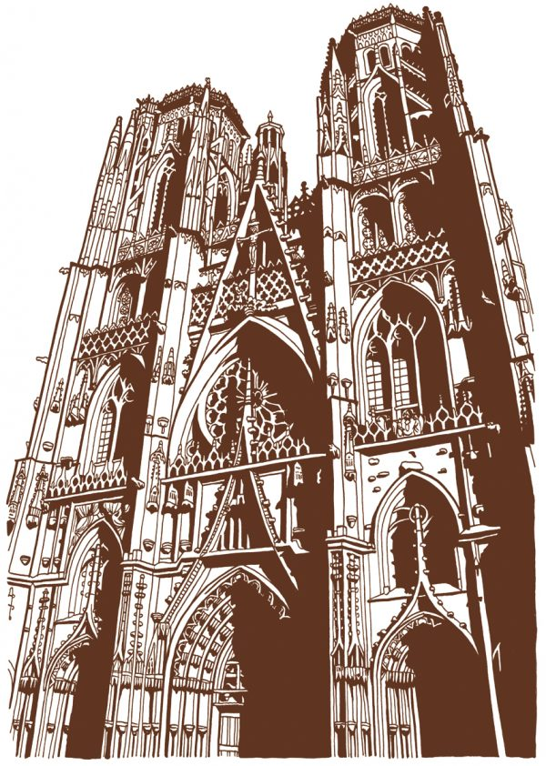 France. Cathédrale de Toul, illustration pour le document philatélique officiel du timbre Toul, Meurthe-et-Moselle, 2016 (création de Mathilde Laurent, encre de Chine)