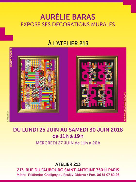 """Flyer d'Aurélie Baras concernant son exposition temporaire """"les décorations murales"""", juin 2018, Paris (© A. Baras)"""