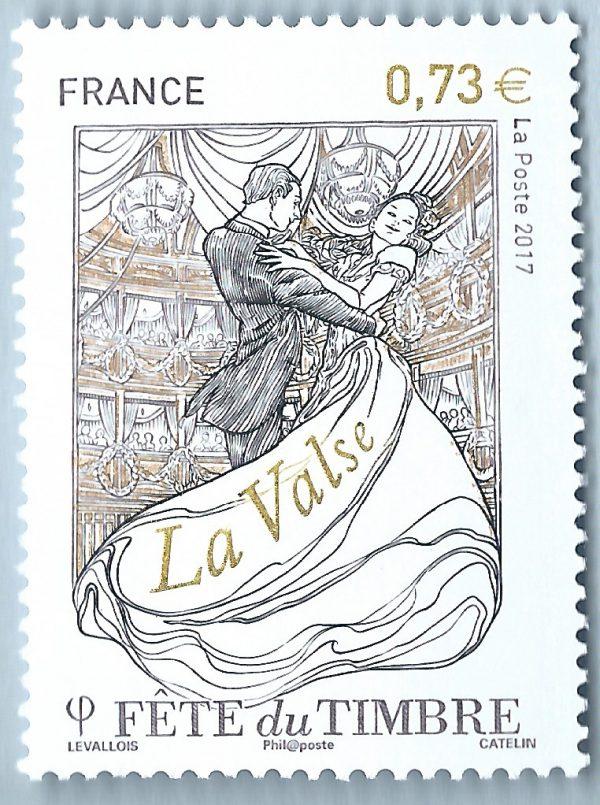 France. La fête du timbre. La danse, 2017 (création de Stéphane Levallois, gravure d'Elsa Catelin, impression taille-douce). Prix spécial du timbre taille-douce 2017 (©La Poste/S.Levallois/E.Catelin)