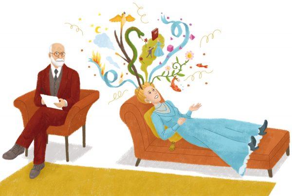 """Mathilde Laurent, Le cerveau et les rêves, peinture numérique, illustration réalisée pour le livre """"Mon cerveau, collection Questions ? Réponses !"""", Editions Nathan, 2018 (© M. Laurent)"""
