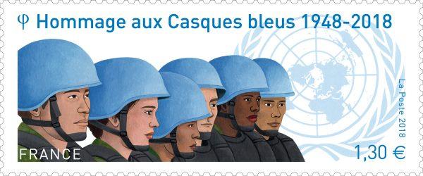 France. Hommage aux Casques bleus, 2018 (création de Mathilde Laurent, gouache, impression héliogravure)