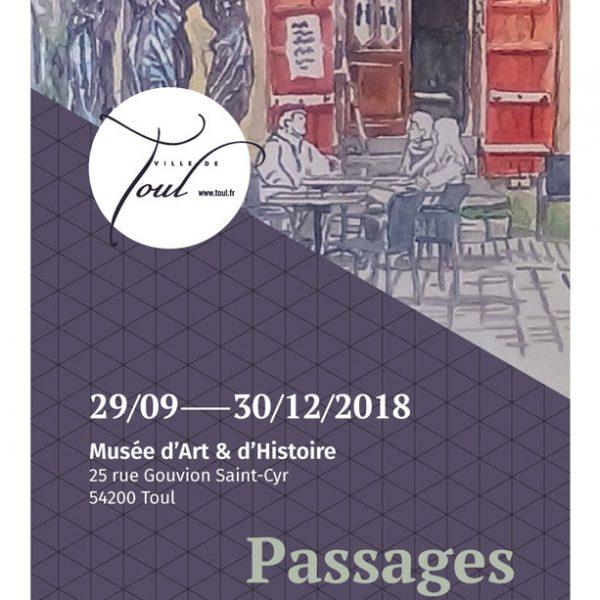 """Carton d'invitation de l'exposition """"Passages in the City"""" de Véronique Bandry, musée d'art et d'histoire, Toul, Meurthe-et-Moselle, 2018 (© V. Bandry)"""