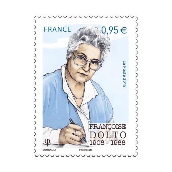 Françoise Dolto, 2018 (création de Sarah Bougault, impression héliogravure) (© La Poste/S. Bougault)