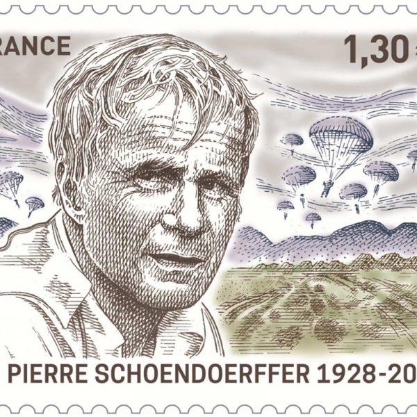 Pierre Schoendoerffer, 2018 (création et gravure de Marie-Noëlle Goffin, mise en page Valérie Besser, impression taille-douce) (©La Poste/MN.Goffin/V.Besser)