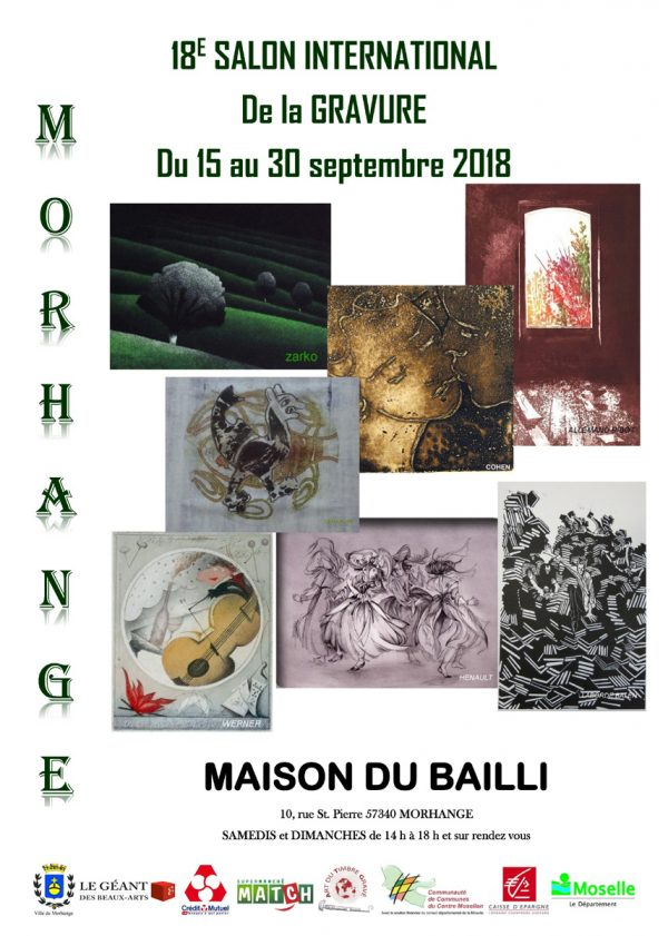 Affiche du salon international de la gravure à Morhange, Moselle, 2018