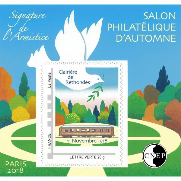 Salon philatélique d'automne, Bloc CNEP avec timbre personnalisé, Signature de l'armistice, 2018 (création de Christian Broutin, impression offset) (© CNEP/C.Broutin)