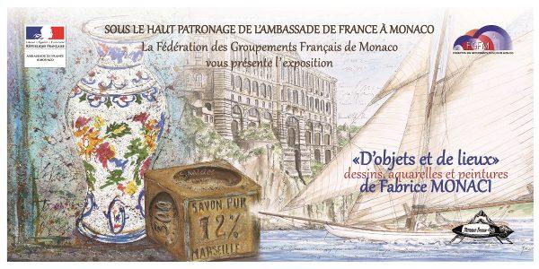 """Carton d'invitation de l'exposition """"D'objets et de lieux"""" de Fabrice Monaci à Monaco, novembre 2018 (© F. Monaci)"""