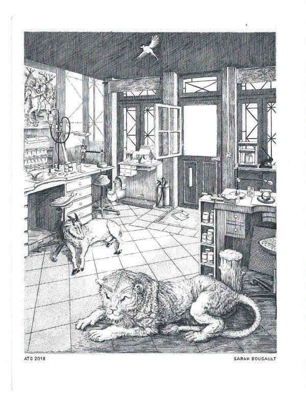 Transmission, gravure n°22 - 2018 (dessin et gravure : Sarah Bougault)