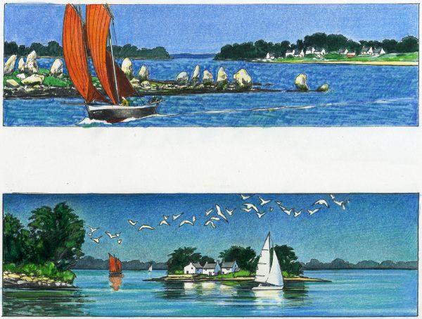 Michel Bez, projet de timbre Golfe du Morbihan, crayon de couleur, 2005 (coll. Musée de La Poste, Paris, Inv 2006.171.218)