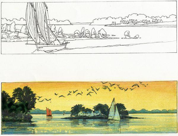 Michel Bez, projet de timbre Golfe du Morbihan, crayon noir et de couleur, 2005 (coll. Musée de La Poste, Paris, Inv 2006.171.219)
