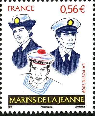 Marins de la Jeanne, 2009 (création Michel Bez, gravure Claude Jumelet, impression taille-douce) )(© La Poste/M. Bez/C.Jumelet)