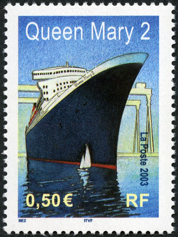 Michel Bez, Paquebot Le Queen Mary 2, 2003 (création Michel Bez, impression héliogravure) (© La Poste/M. Bez)
