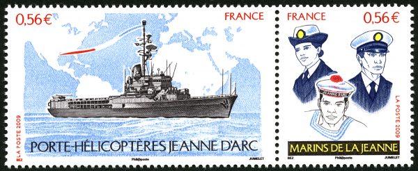 Porte-hélicoptères Jeanne d'Arc et marins de la Jeanne, 2009 (création Michel Bez, gravure Claude Jumelet, impression taille-douce)(© La Poste/M. Bez/C.Jumelet)