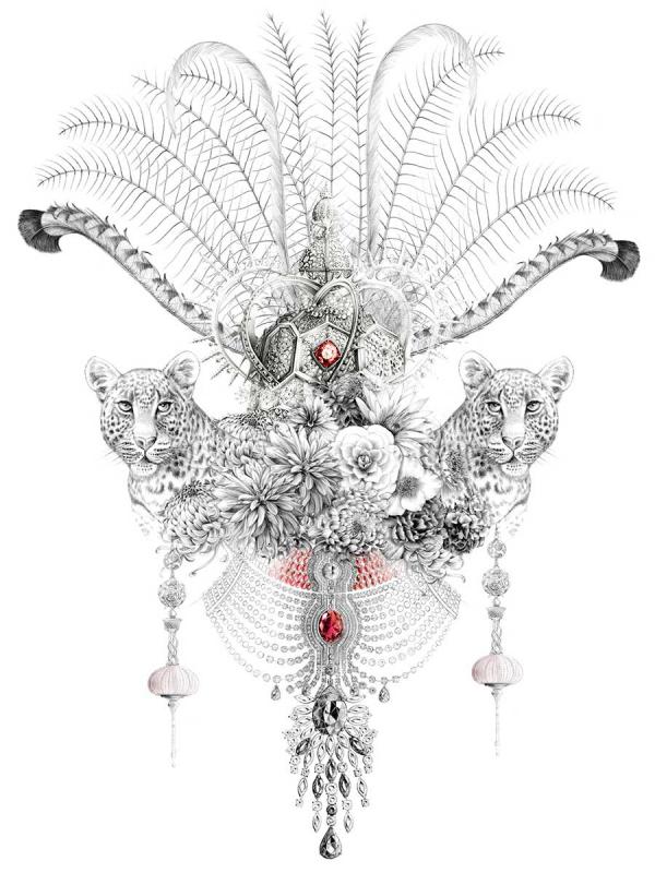 Florence Gendre, Composition bijoux, animaux et fleurs, crayon graphite, colorisation Photoshop, 2019 (© F. Gendre)