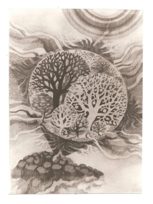 """Marie-Noëlle Goffin, """" """"Création du monde"""" inspirée du début de la Genèse, burin (©MN. Goffin)"""