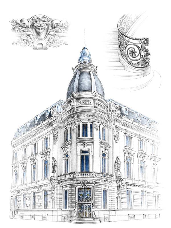 Florence Gendre, Dessin d'architecture, ancienne chambre de commerce de Grenoble, crayon graphite, colorisation Photoshop, 2018 (© F. Gendre)