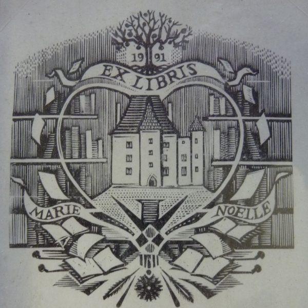 Ex-libris La Motte, création et gravure de Marie-Noëlle Goffin (© MN . Goffin)