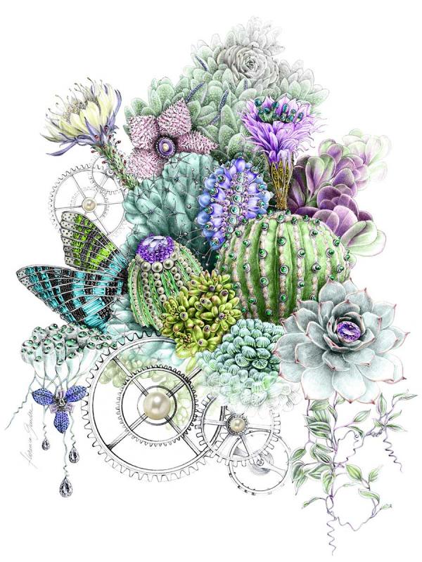 Florence Gendre, Illustration cactus et bijoux, réalisée pour l'affiche du salon Bijorhca, crayon graphite, colorisation Photshop, 2019. (© F. Gendre)