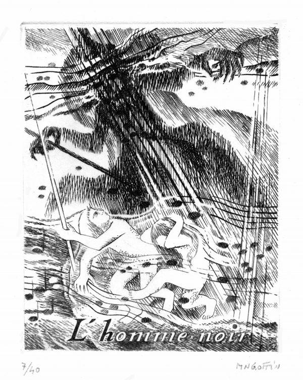 "Marie-Noëlle Goffin, ""L'homme noir"" inspiré des scènes d'enfants de Robert Schumann, burin (©MN. Goffin)"