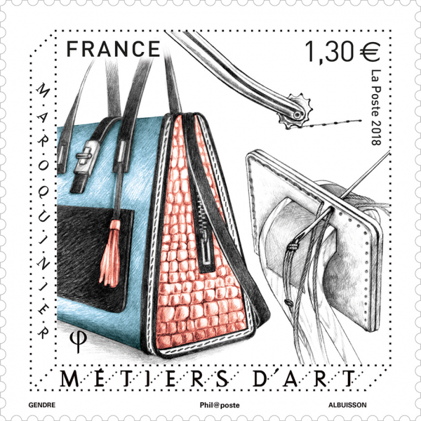 Métiers d'art - Maroquinier, 2018 (création de Florence Gendre, gravure de Pierre Albuisson, impression taille-douce) (©La Poste/F.Gendre/P.Albuisson)