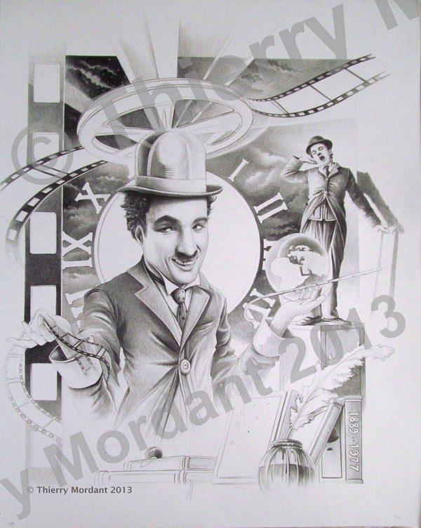Thierry Mordant, Hommage -Portrait de Chaplin, dessin, 50 x 70 cm © T. Mordant