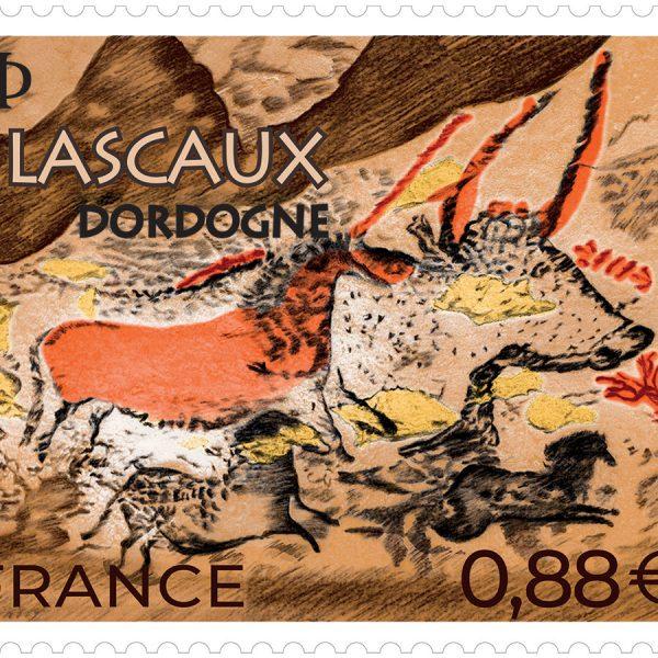 Lascaux, Dordogne, 2019 (création et gravure d'Elsa Catelin d'après photo salle des Taureaux © Dan Courtice-Semitour, impression taille-douce) © La Poste/E.Catelin