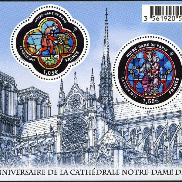 850 ème anniversaire de la cathédrale Notre-Dame de Paris, 2013 (création et gravure de Claude Andréotto, impression mixte, taille-douce et offset) © La Poste/C. Andréotto