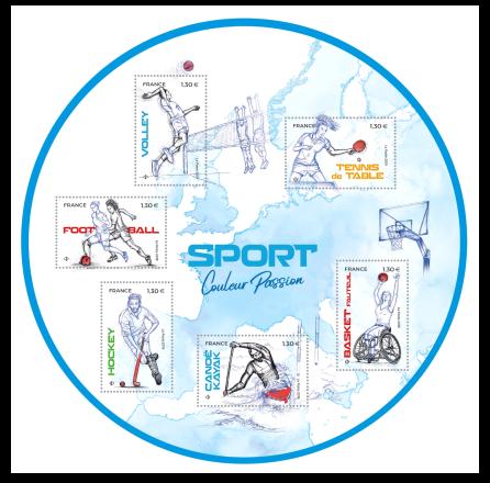 Un tour du monde sportif, bloc rond de 6 timbres, 2019 (création de Sandrine Chimbaud, mise en page Agence Absinthe d'après photo © Sport Presse, impression offset) © La Poste/S. Chimbaud