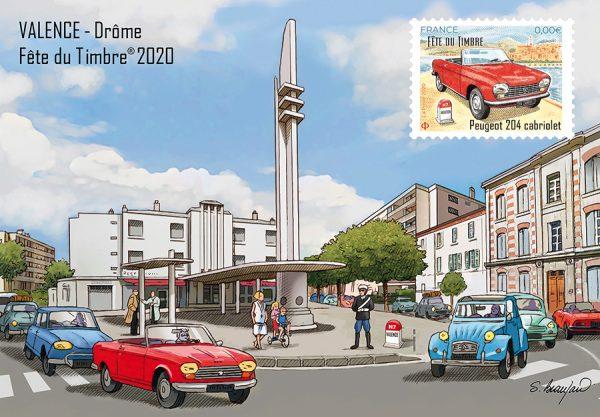 Carte postale Fête du Timbre Valence avec timbre